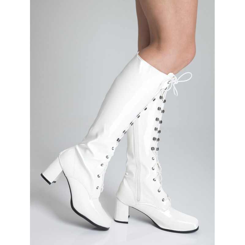 Knee High Eyelet Boots - White Patent
