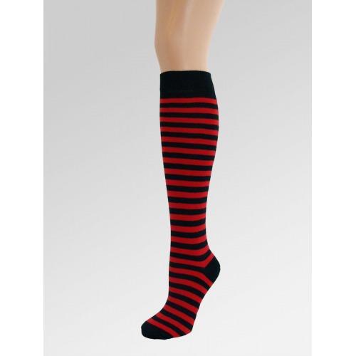 Long Over Knee Socks - Red & Black
