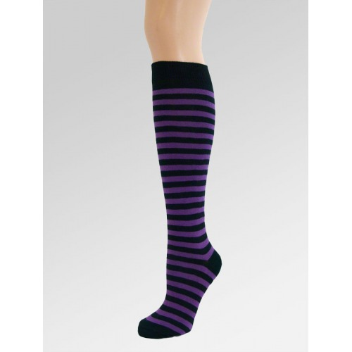Long Over Knee Socks - Purple & Black