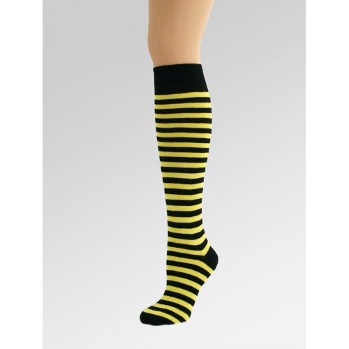 Long Over Knee Socks - Yellow & Black