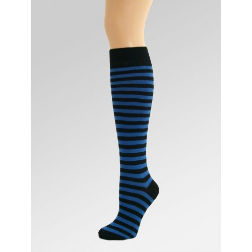 Long Over Knee Socks - Blue & Black