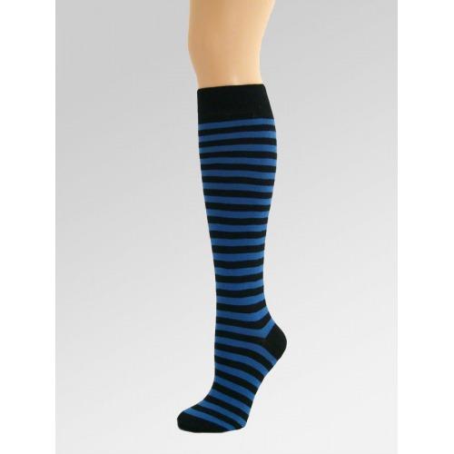 Long Over Knee Socks - Blue & Black