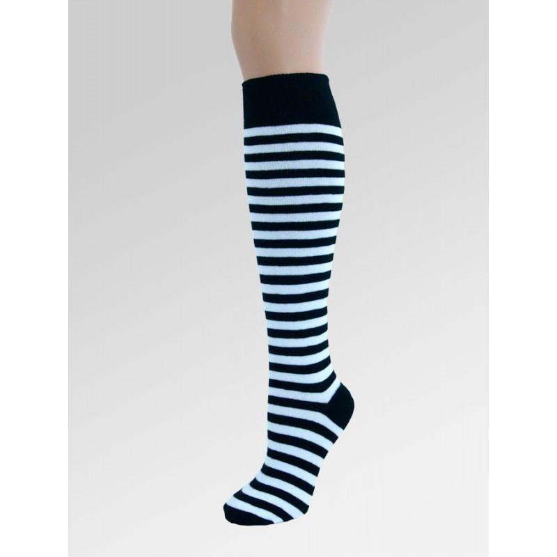 Long Over Knee Socks - Black & White