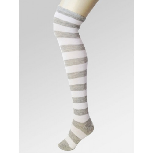 Long Over Knee Socks - White & Grey