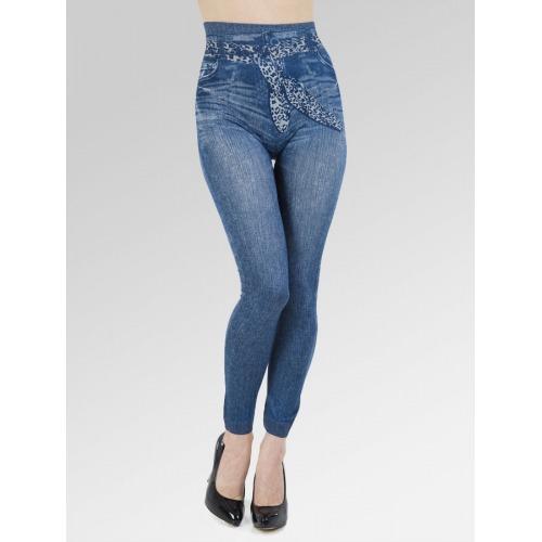Faux Tie Belt Jean Effect Leggings