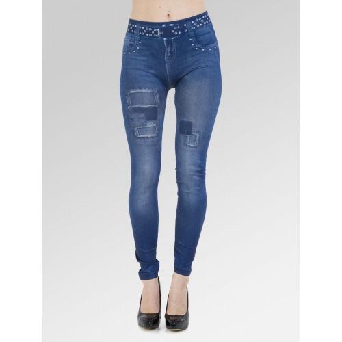 Faux Belt Patch Jean Effect Leggings