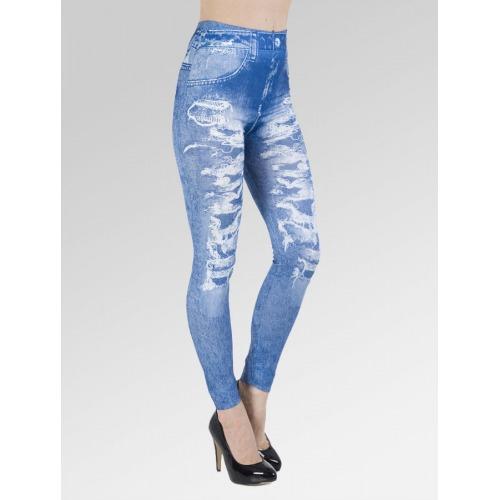 Faded Ripped Jean Effect Leggings