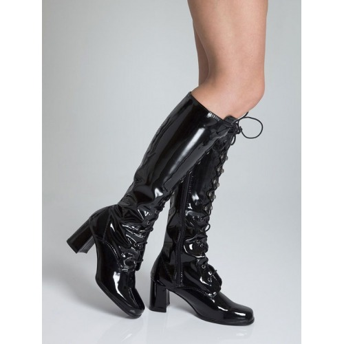 Knee High Eyelet Boots - Black Patent