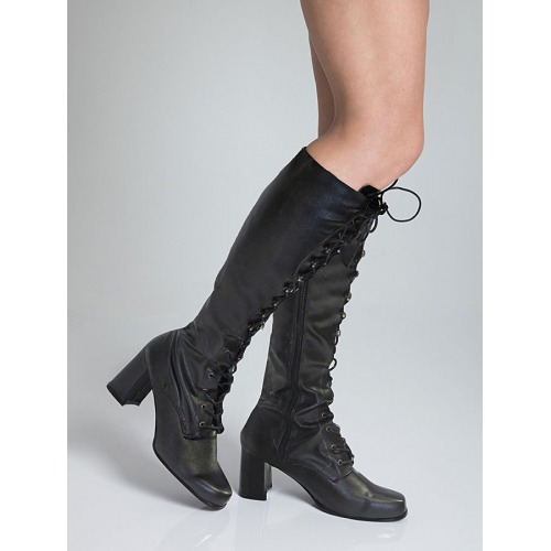 Knee High Eyelet Boots - Black Matt