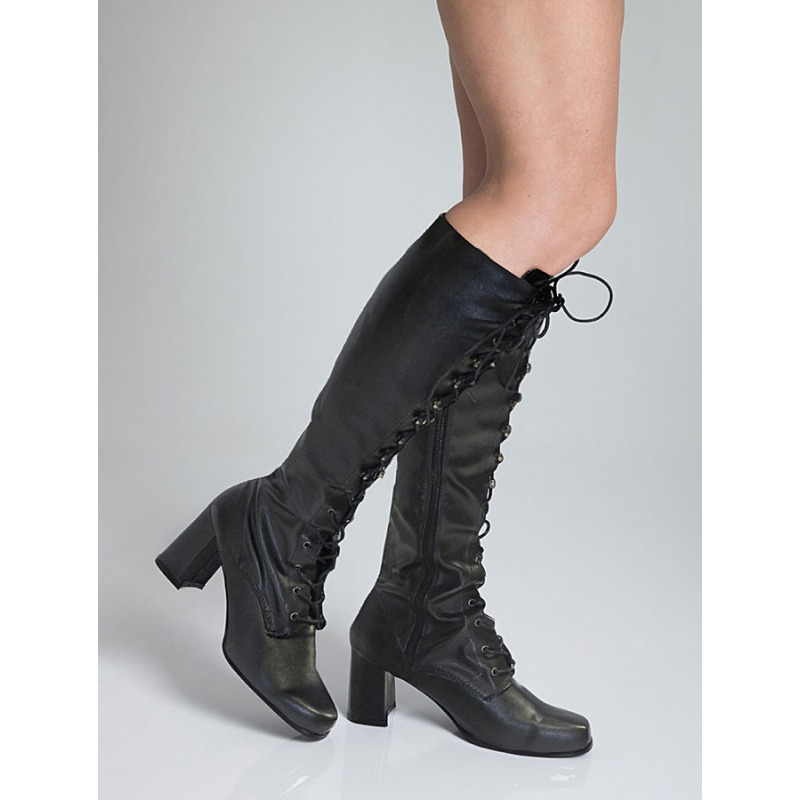 Knee High Eyelet Boots - Black Matt