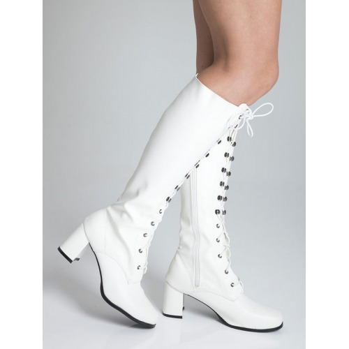 Knee High Eyelet Boots - White Matt