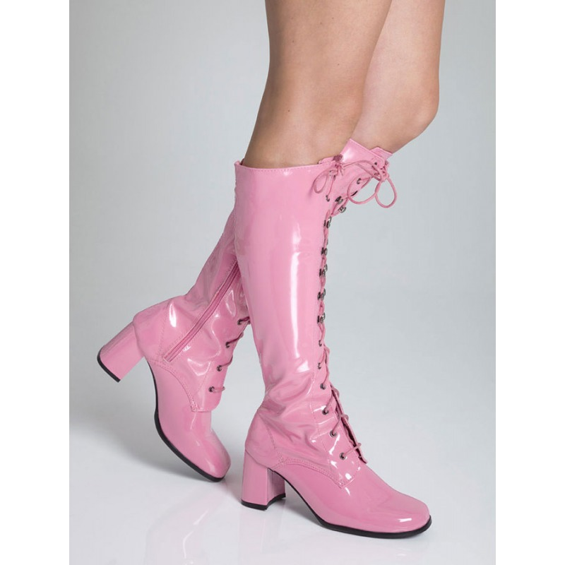 Knee High Eyelet Boots - Baby Pink