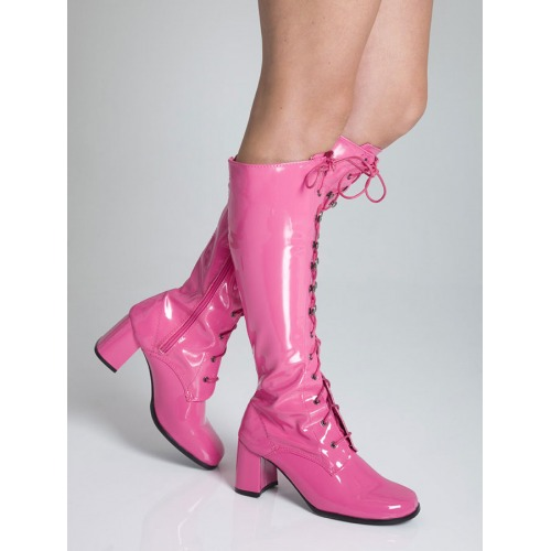 Knee High Eyelet Boots - Hot Pink