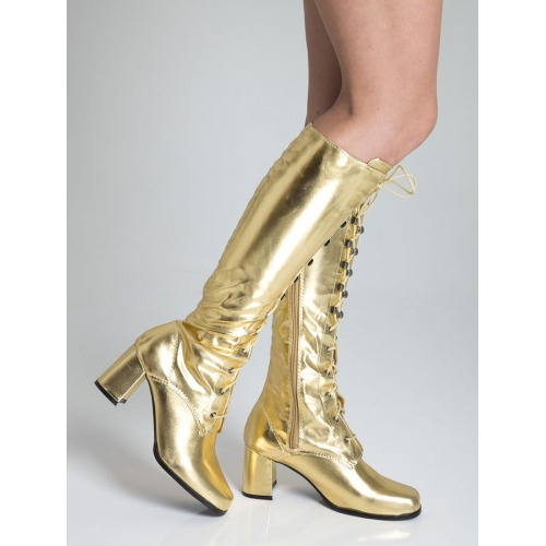 Knee High Eyelet Boots - Gold