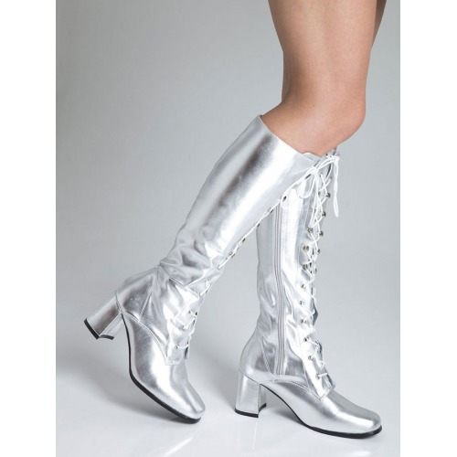 Knee High Eyelet Boots - Silver