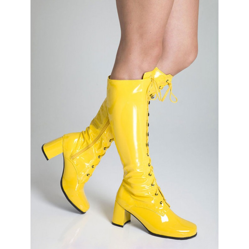 519649e4a49 KNEE HIGH EYELET BOOTS - YELLOW