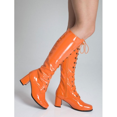 Knee High Eyelet Boots - Orange