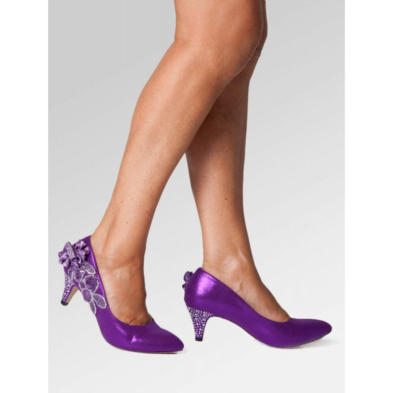 Mid Heel Wedding Shoes - Purple