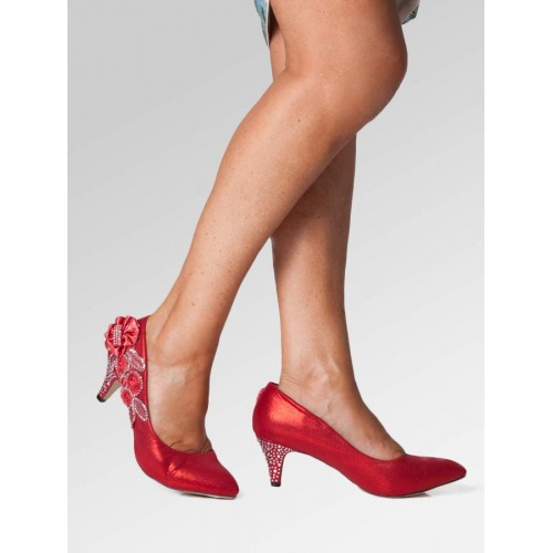 Mid Heel Wedding Shoes - Red
