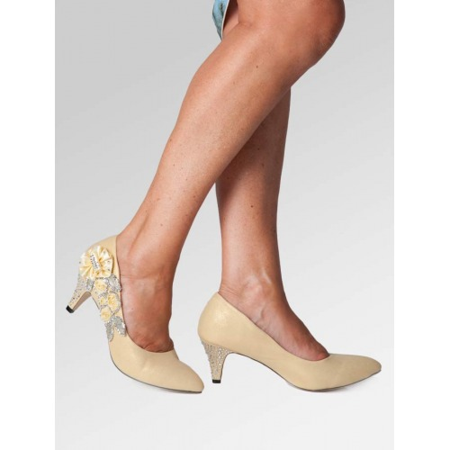 Mid Heel Wedding Shoes - Gold