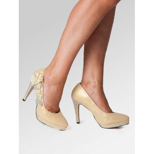 High Heel Wedding Shoes - Gold