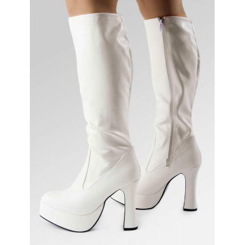 Platform Boots - White Patent