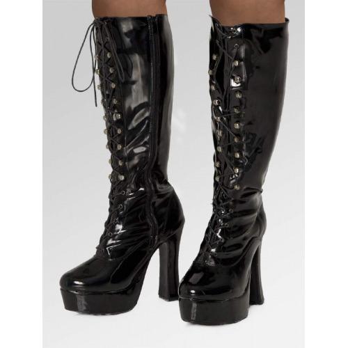 Platform Eyelet Boots - Black Patent