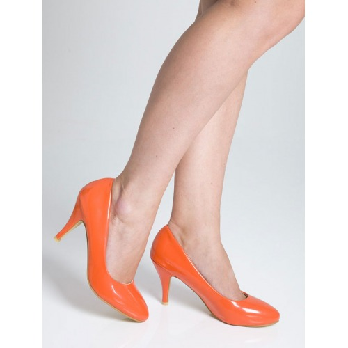 Mid Heel Court Shoes - Coral