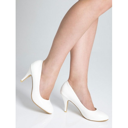 Mid Heel Court Shoes - White