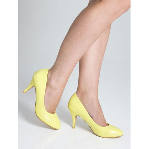 Mid Heel Court Shoes - Yellow