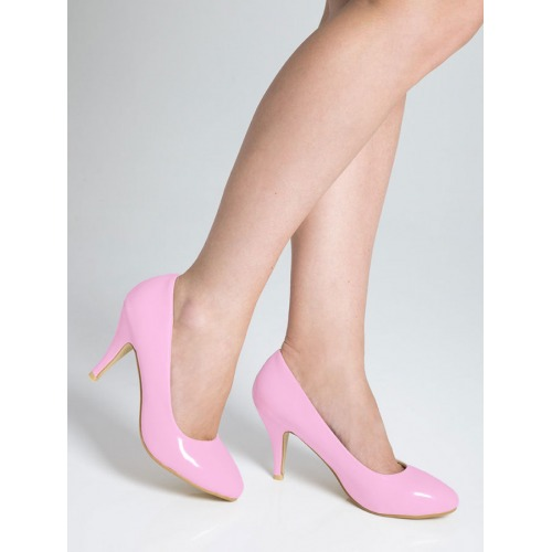 Mid Heel Court Shoes - Pink