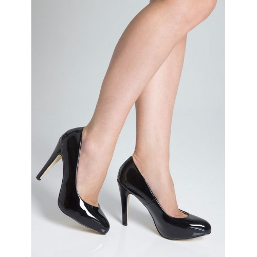 High Heel Court Shoes - Black