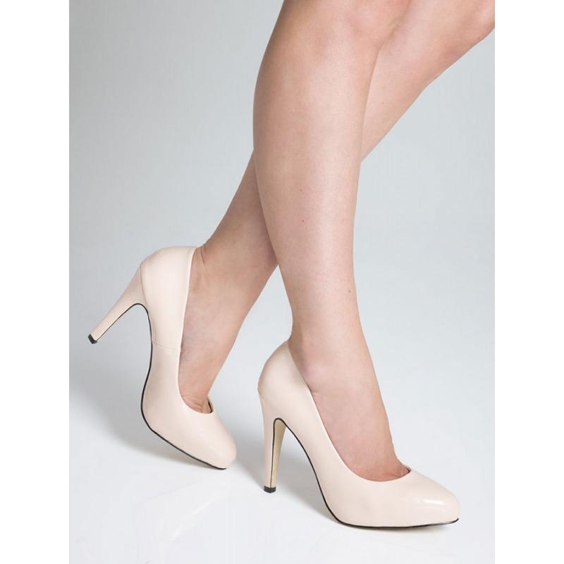 High Heel Court Shoes - Nude