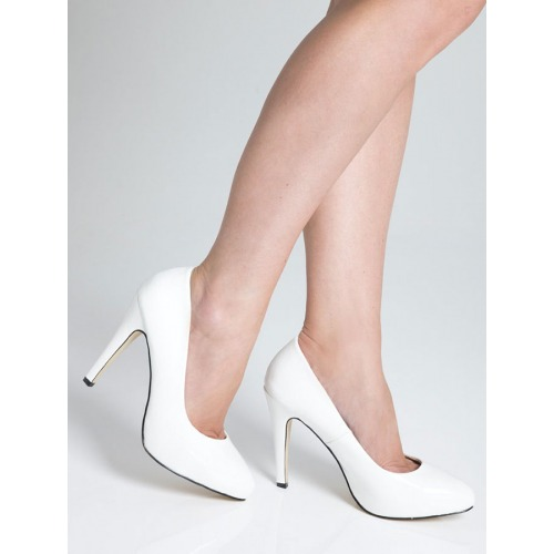 High Heel Court Shoes - White