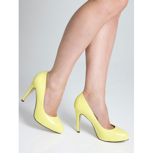 High Heel Court Shoes - Yellow