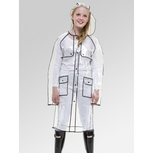 Women's Clear Pac-a-Mac Rain Coat with Black Trim