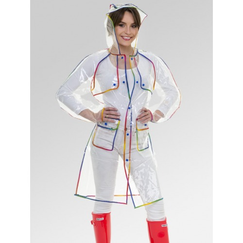 Women's Clear Pac-a-Mac Rain Coat with Rainbow Trim