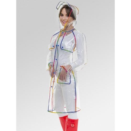 Women's Clear Pac-a-Mac Rain Coat with Rainbow Trim