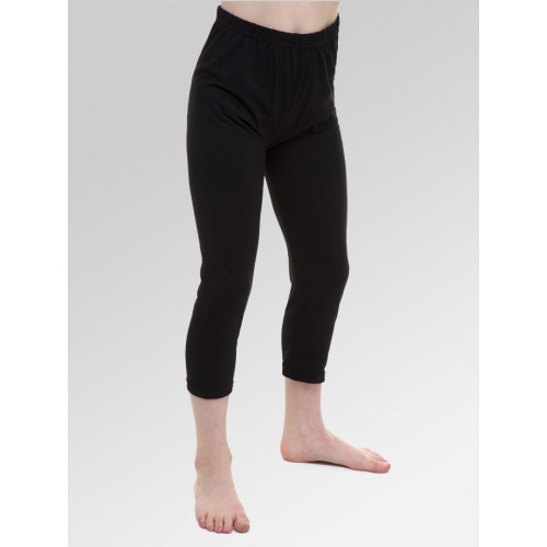 Girls 3/4 Length Cropped Leggings - Black