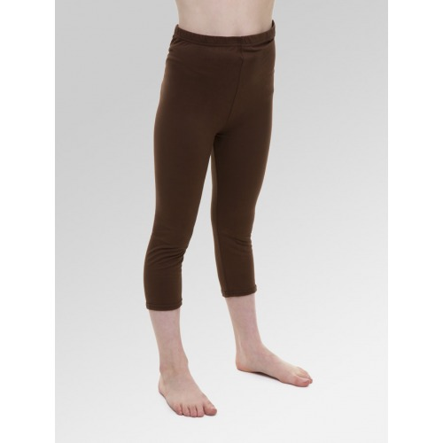 Girls 3/4 Length Cropped Leggings - Brown