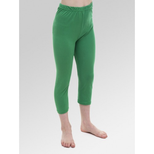 Girls 3/4 Length Cropped Leggings - Green
