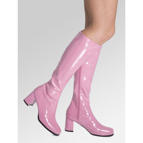 Knee High Boots - Pink Patent