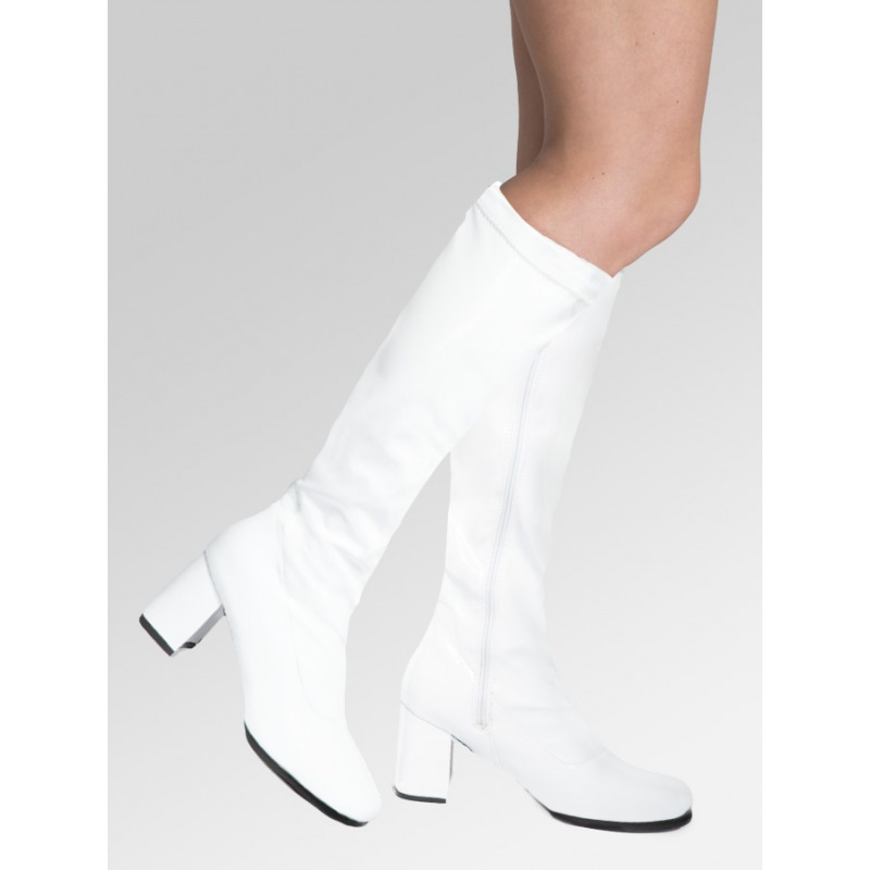 Knee High Boots - White Patent