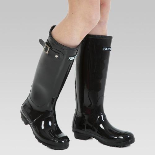 Festival Wellington Boots - Black Patent
